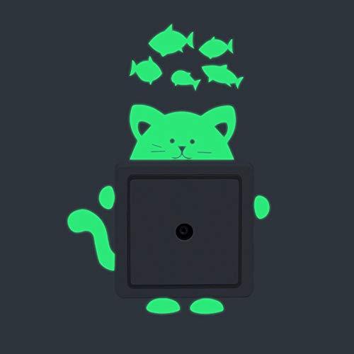 1pc Gelb Grün Glanz Katze Und Fisch Flachen Papier-Glühen In Den Dunklen Aufkleber, Lichtschalter-Sticker, Fluoreszierend Home-Kinder-Schlafzimmer-Dekor, Selbstklebend