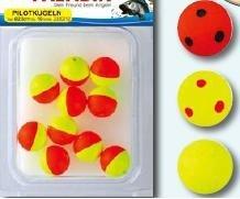 10 Pilotkugeln XXL Piloten Forellenposen Pilot 25mm, Farbe:Gelb/Rote Punkte
