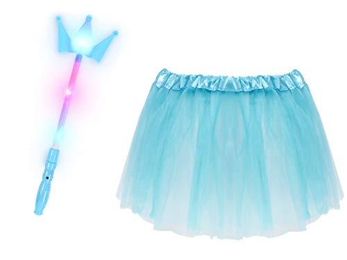 Leuchtstäbe Kostüm - Alsino Prinzessinnen Kostüm für Mädchen (Kv-163) - 2-teiliges Set mit Kronen-Leuchtstab und Tüllrock - Hellblau
