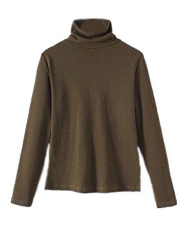AILIENT Maglia Donna Camicetta Alta Colletto Manica Lunga Maglietta T-Shirt Blusa Slim Sexy Ufficio Army green1