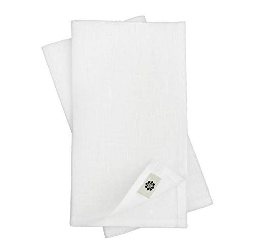 Linen & Cotton Lot de 4 Serviettes de Table de Luxe ANABELLA, 100% Lin - 47 x 47cm (Blanc)
