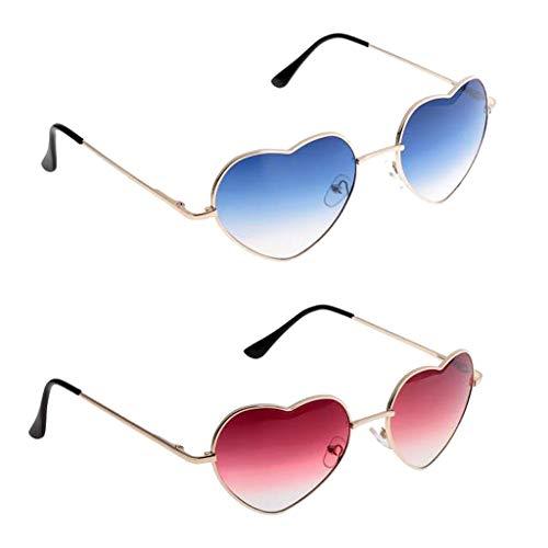 FLAMEER 2 Stü Frauen Goldfelge Liebe Herzform Outdoor Sonnenbrille Gradientenlinse