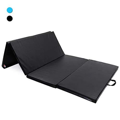 ISE 240 * 120cm tragbar Weichbodenmatte 4-Fach Faltbare Fitnessmatte und Turnmatte Gymnastikmatte für zu Hause,PU Rutschfeste Sportmatte Spielmatte für Kinder & Erwachsenen SY-3004-BK
