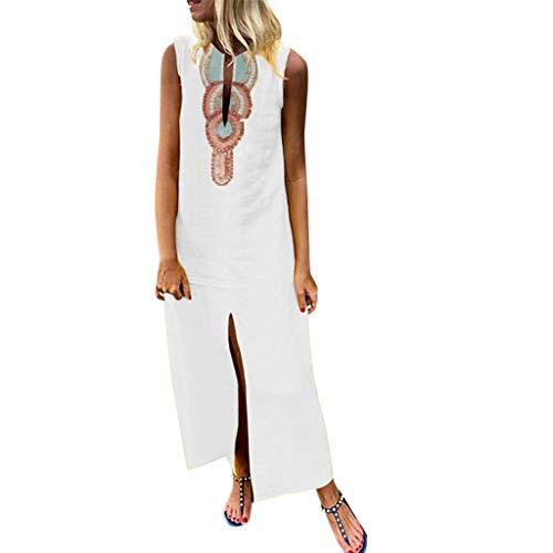 TUDUZ Mujer Sin Mangas con Cuello En V Impreso De La Vestido con Dobladillo Medio Vestidos (Blanco, L)