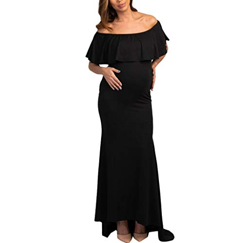 9e96fd51c5b93 Vovotrade Abito da maternità con Spalle Arruffate da Donna Abito Elegante  da Donna Abiti Casual Solidi