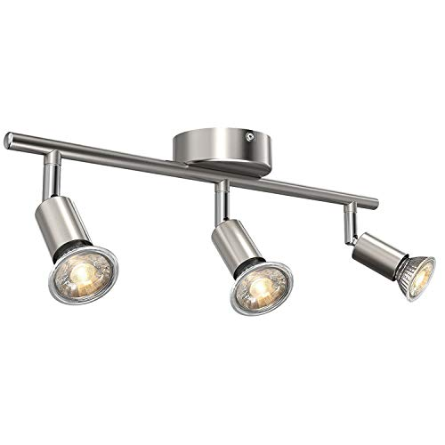 Uchrolls LED Deckenleuchte Schwenkbar, 3 Flammig, inkl. 3 x 5W Leuchtmittel GU10 LED, 400LM, Warmweiß, LED Deckenlampe LED Deckenspot LED Deckenstrahler LED Leuchte