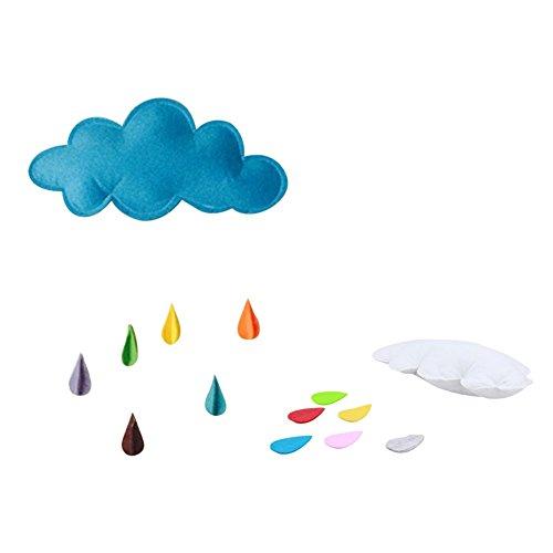 Wolken Wallpaper (Minuya Filz Wolke Mond Stern Regentropfen Schmuck Anhänger Deko Kinderzimmer Child Schlafzimmer DIY (Mehrfarbig))
