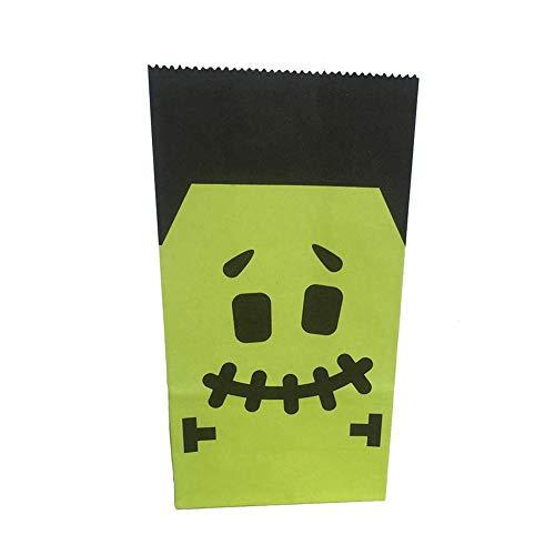 Cdet 12X Papier Beutel Öffnen Partytüten Kraftpapierbeutel Tüten, für Zucker Kekes Süßigkeiten Nuss Verpackungstasche Für Halloween (Grünes Gesicht)