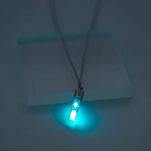 CHUANGJIE Collar/Colgante, Puede Abrir Tiempo Collar de Tubo de Vidrio Luminoso Reloj de Arena Multicolor - Unisex,B