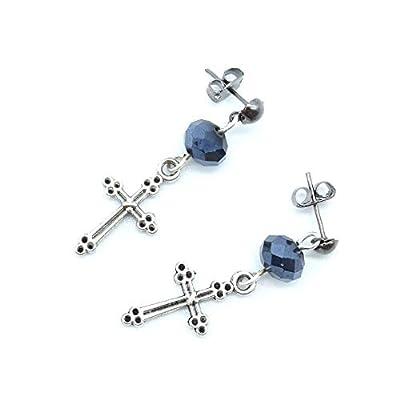 Puces d'oreilles croix pour homme ou femme, boucle d'oreille à l'unité ou par paire