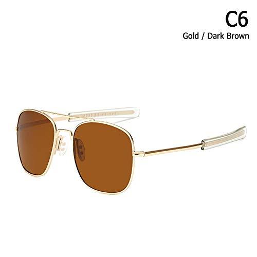 ZHOUYF Sonnenbrille Fahrerbrille Mode Polarisierte Ao Armee Militärischen Stil Luftfahrt Sonnenbrille Männer Fahren Markendesign Sonnenbrille Oculos De Sol, E