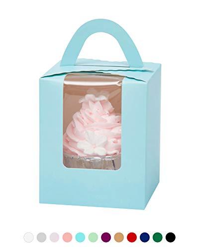 yotruth Große Cupcake-einzelnen Behältern Bulk mit Fenster Griff und fügt Geschenk-Boxen 50 babyblau (Boxes Bulk Favor)