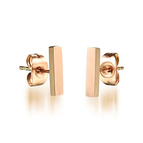 FaithYoo Orecchini da donna placcato oro rosa barra verticale Orecchini a perno da donna Fashion Jewelry, acciaio inossidabile, colore: Short, cod.