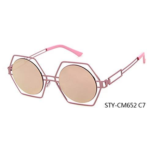 Taiyangcheng Steampunk Sonnenbrille Frauen Spiegel Sonnenbrille Männer Hollow Metal Cool,C7 -