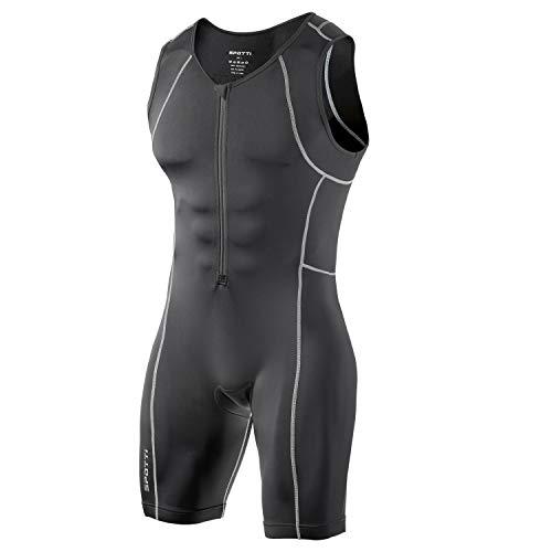 Spotti Herren Triathlon Tri Suit, ärmellos Quick Dry Skinsuit-Triathlon Race Anzug mit verlängerter Reißverschlüsse und Taschen, Atmungsaktiv und Beständigkeit, Schwarz, XX-Large (Race Anzug)
