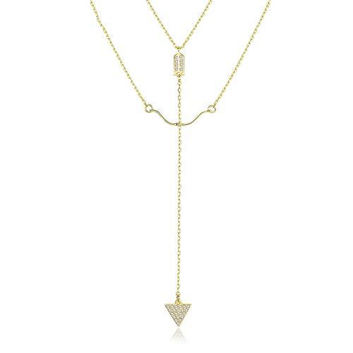 J.Memi's Halsketten 925 Sterling Silber Anhänger Klassische Pfeil und Bogen Doppelte Schlüsselbeinkette für Frauen Perle Kette Schmuck Geschenk Für Sie,Gold