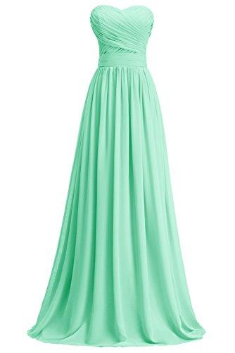 KekeHouse® A-Linie Maxi Brautjungkleid Mutter Tochter Abendkleid Plissiert Partykleid Blumenmkleid Mintgrün Maßanfertigung
