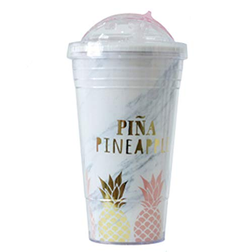Gold-plated Cup (Hootiny Straw Cup Mug Double Plastic Slide Ananas Pattern Travel Capacity Portable Cup Tea Cup Gold Plated Chic New Creative Universal,B)