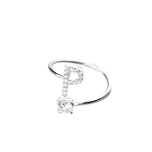 Kycut Damen Ring, modisch und einfach zu öffnende 26 Buchstaben mit Diamant-Ring, Damenschmuck (kostenlose Größe) -