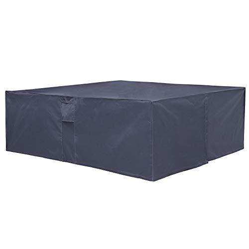 SONGMICS Abdeckung für Gartenmöbel-Set, 240 x 140 x 90 cm (L x B x H), 600D Oxford-Gewebe, Schutzhülle, Abdeckhaube für Tisch und Stühle, wasserfest und farbecht, für Outdoor, dunkelgrau GFC93G