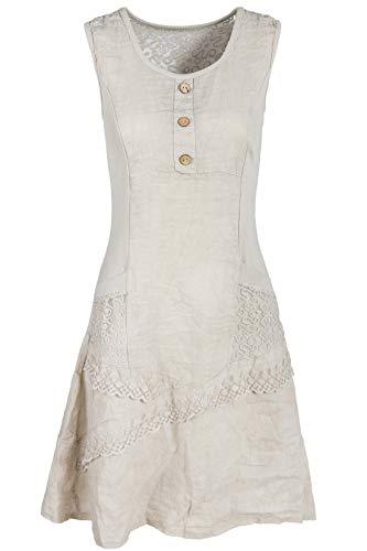 GS-Fashion Leinenkleid Damen Sommer mit Spitze am Rücken KLeid ärmellos knielang Beige 38 (Herstellergröße L) (Ausgestellte Taschen)