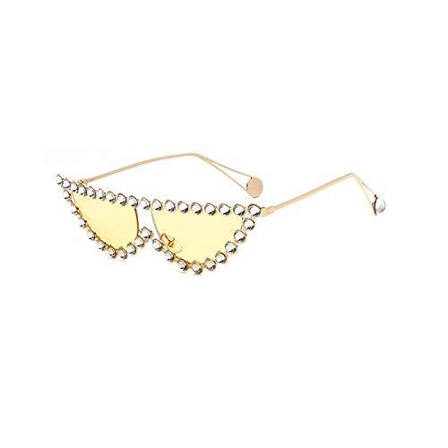 Sportbrillen, Angeln Golfbrille,Luxury Brand Designer Crystal Women Transparent Hot Fashion Sunglasses Rhinestone Rays Italian Cat Eye Sun Glasses Gold Yellow