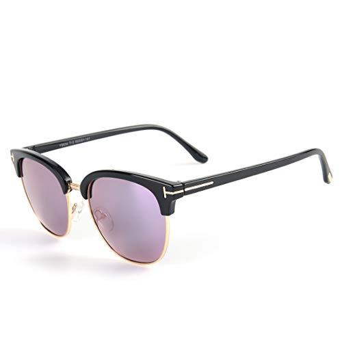 Frauen-UVschutz-Sonnenbrille-Retro- Weinlese-Metallrahmen-Sonnenbrille für Brille (Farbe : Black Frame/Purple Lens)