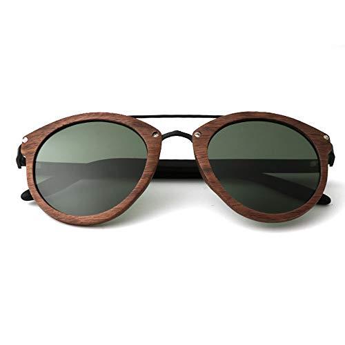 UV400 polarisierte Sonnenbrillen aus Metall/dünne Gläser für die Frau beim Reisen, Outdoor-Sport und Aktivitäten, als Geschenk für Freunde und Verwandte (Farbe : Black Walnut+Forest Green)
