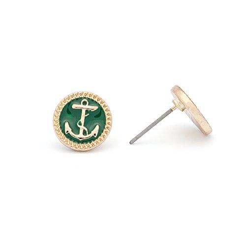 rimchen Ohrringe Ohrstecker klein Modeschmuck Anker Farbe: Grün Gold