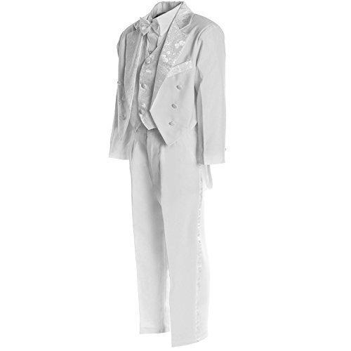 Jungen Kinder Kommunion Hosen Fest Anzug Smoking Taufe Hochzeit Anzug 5Tlg 20561, Farbe:Weiß;Größe:128