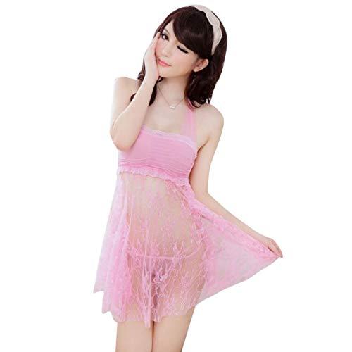 MERICAL Damen Sexy Lingerie Netzstrumpfhose mit offenem Schritt Nachtwäsche Babydoll(Freie Größe,Rosa)