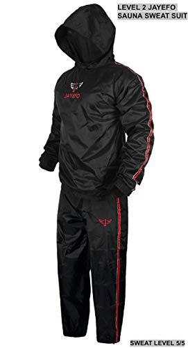 Jayefo Level 2 Sauna Sweat Suit Extra Duty-for Men & Women Unisex Best Weight Loss Waist Trainer Suit Hot Gym Exercise Training Sport, X-Large