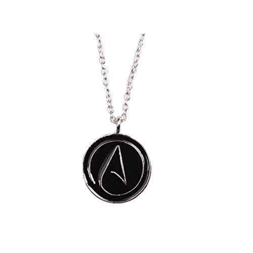 Hzzzzz Atheist Atheism Symbol Necklace Circle Pendant Necklace Colour Black