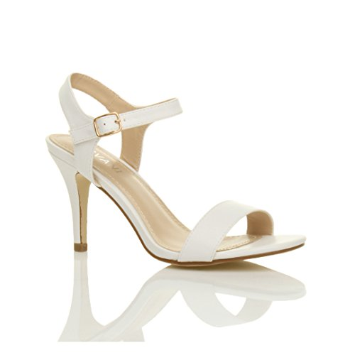 Femmes haute talon boucle fête élégant à lanières sandales chaussures pointure Blanc Mat