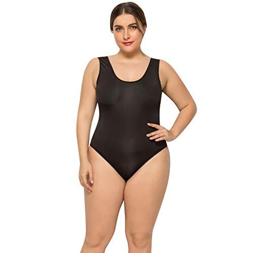 Damen Bikini ALISIAM Frauen Plus Size Volltonfarbe runden Kragen siamesischen Neckholder Bikini Badeanzug Übergröße Strand Mode Sexy Badebekleidung -