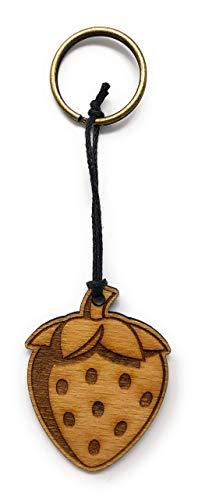 Schlüsselanhänger Erdbeere aus Holz optional mit individueller persönlicher Gravur ! -