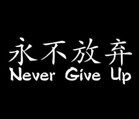 Chinese Symbol Never Give Up - Decal Sticker, Die Cut Vinyl Decal for Windows, Cars, Trucks, Tool Boxes, laptops, MacBook - virtually Any Hard, Smooth Surface