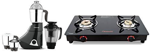 Butterfly Smart Glass 2 Burner Gas Stove, Black & Smart 750-Watt Mixer Grinder with 4 Jar (Grey) Combo
