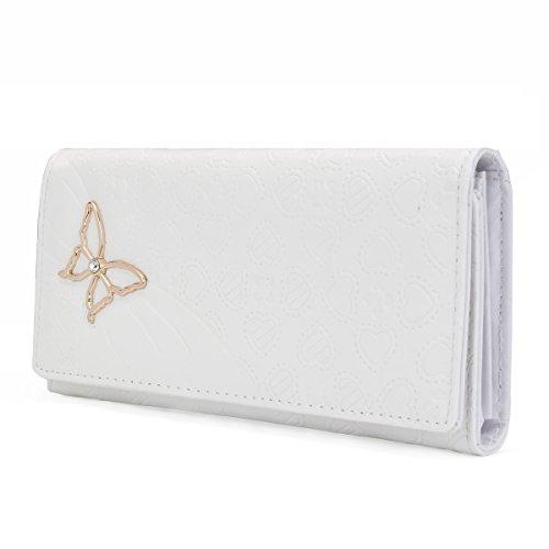 OURBAG Pochette a portafoglio con patta a farfalla lunga in pelle da donna Rosso Bianco
