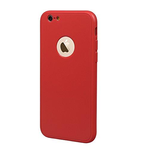 """xhorizon TM Protection à 360 Degrés Couverture du Corps Complet Ultra Fin Double Couche TPU Souple Housse Protectrice Antichoc Couvercle Étui pour iPhone 6 Plus/ iPhone 6S Plus(5.5"""")avec 9H film de pr rouge +9H Glass Tempered Film"""