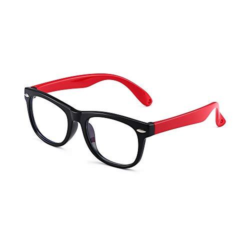 Kinder Blaues Licht blockiert Brillen Kids Anti-Augen-Belastung Gläser für Computer, Telefone, TV, Video Gaming Mädchen Jungen Schwarzer Rahmen Roter Tempel