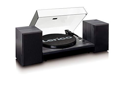 Lenco LS-300 - Hi-Fi Plattenspieler mit Bluetooth - Mit externen Lautsprechern 2 x 10 W RMS - Riemenantrieb - Auto-Stopp - MDF-Gehäuse - Schwarz
