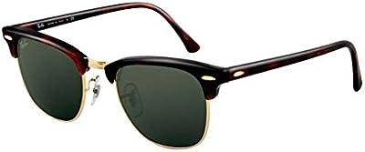 Gafas de Sol Unisex Ray Ban Clubmaster, Lens Base 6, 51mm, Brown/Green