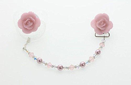 Crystal Dream Rose, con perle e cristalli Swarovski, (CFF)-Nastro porta ciuccio, con Clip