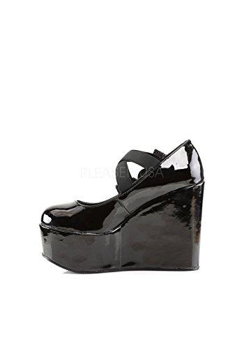 Demonia POISON-02 scarpe Wedges Blk Pat-Lace