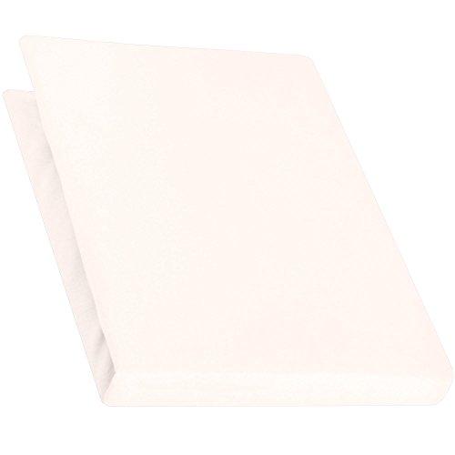 aqua-textil Pur Spannbettlaken schnee weiß 180x200 - 200x220 Boxspringbett Wasserbett Bettlaken Jersey Baumwolle 0010195