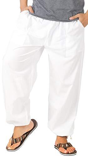 Hosen Baumwollhose aus wohlig weicher, 100% Reiner Naturbaumwolle, mit Tasche, Tunnelzug und Elastische Taille (M/L, Gebrochenes Weiß) ()