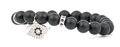 Perlen-Armband aus echten Onyx Natursteinen, Glücks Auge-Anhänger, Buddha Handmala, hand of fatima bracelet (Hand Armband)