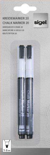 SIGEL GL178 Kreidemarker weiß, Rundspitze 1-2 mm, 2 Stück - weitere Farben -