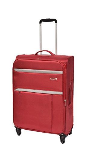 4 Rad Leichtgewicht Weiches Nylon Koffer Spinner Erweiterbar Gepäck Trolley Tasche HLG1050 (Rot, M)
